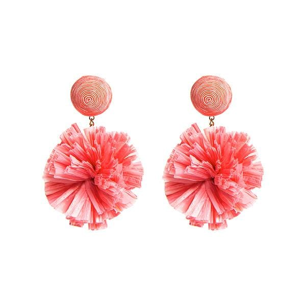 baby pink colour silk thread and raffia pompoms detailed earrings