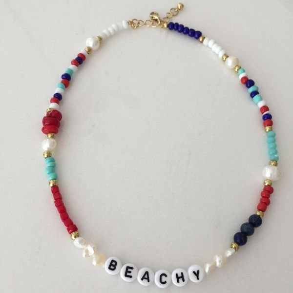 Natural pearl and colourful beaded choker necklace with beachy word