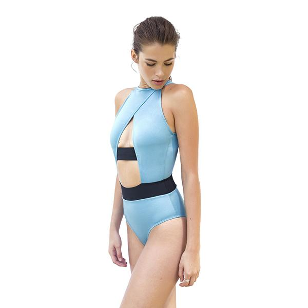 Bell High Neck Swimsuit | Glossy Blue