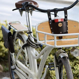 Drink/bottle cup, snap fastener button to attach on bicycle handlebar, suitable for all kinds of drinks and bottles.