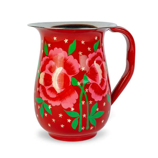 Red coloured, floral patterns painted decorative enamelware jug