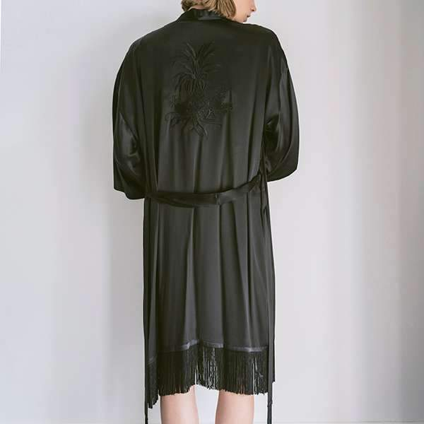 Black Shiny Pineapple Silk Satin Kimono Kimono Boon