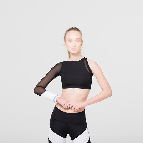 Black and White One Sleeve Crop Top With Mesh Clothing Ryder Act