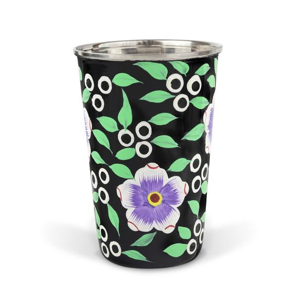 Decorative tableware hand painted black enamel tumbler with North Indıan motifs - hippist.co.uk