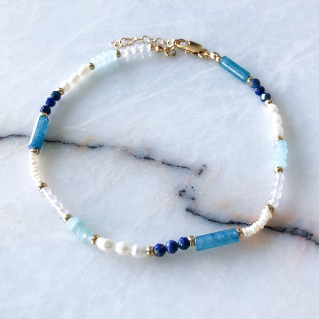 Bleu Natural Pearl & Blue Quartz Anklet | LIMITED EDITION