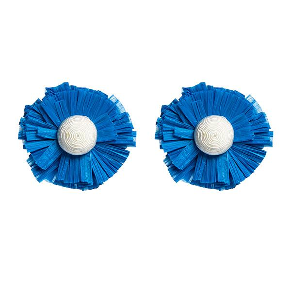 ponponiere branded raffia and hand-knitted yarn in the form of detailed flower earrings at hippist.co.uk