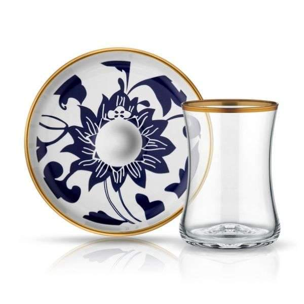 Istanbul Tiryaki Tea Glass and Saucer | Blue Blanc Guz | Set of 6