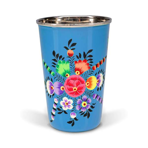 Decorative tableware hand painted blue enamel tumbler with North Indıan motifs - hippist.co.uk