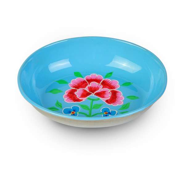 Handpainted mini enamelware blue tray