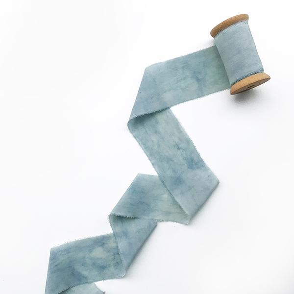 Darwin's botanicals branded blue colour hand dyed silk ribbon at hippist
