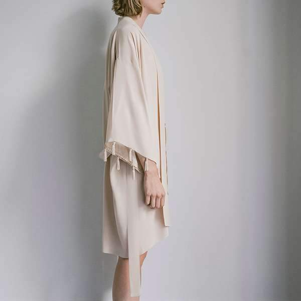 Blush Pineapple Silk Crepe de Chine Kimono Kimono Boon