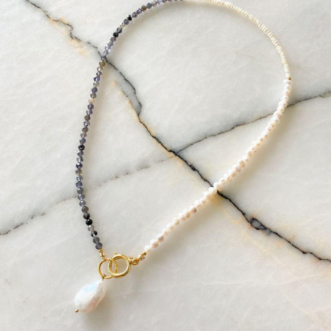 Bonita Natural Pearl Iolite Necklace | Double Trouble Collection