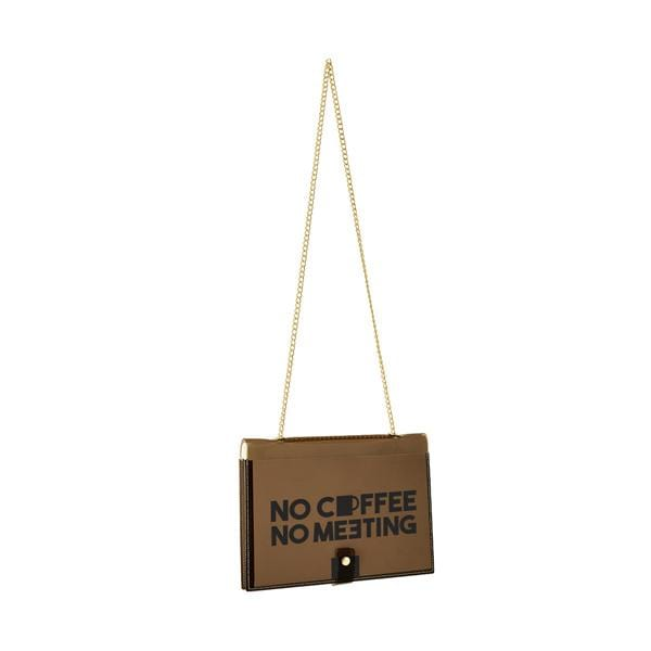 "why note!? fun notebag series brown office bag with ""no coffee no meeting"" printed card hippist.co.uk"