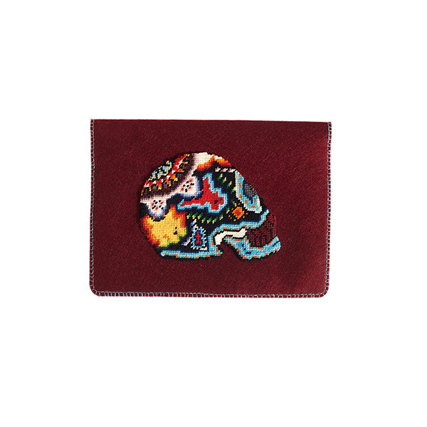 Felt burgundy tablet case with skull embroidery