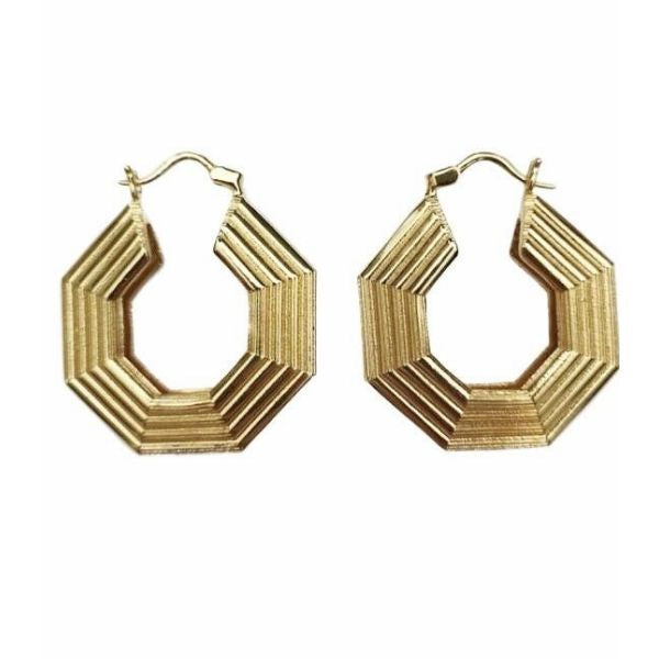gold plated hoop bronze earrings