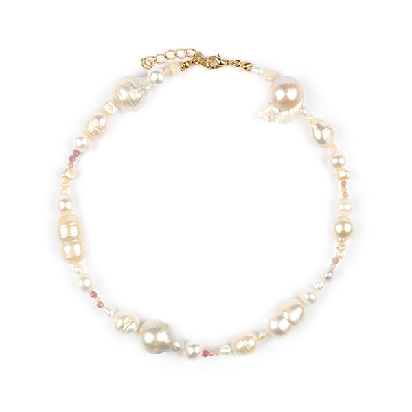 Calypso Baroque Pearl & Sunstone Choker Necklace