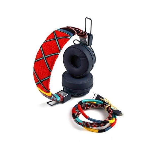 red Colourful Happy-Nes headphone handcrafted on New Urbanears Plattan 2