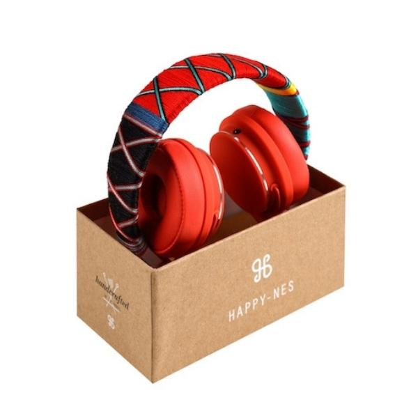 red Happy-Nes headphone in box handcrafted on New Urbanears Plattan 2