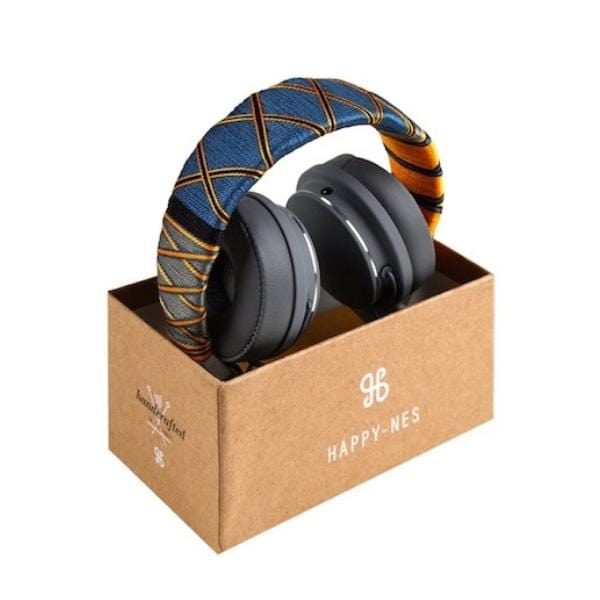 Indigo Happy-Nes headphone in box handcrafted on New Urbanears Plattan 2