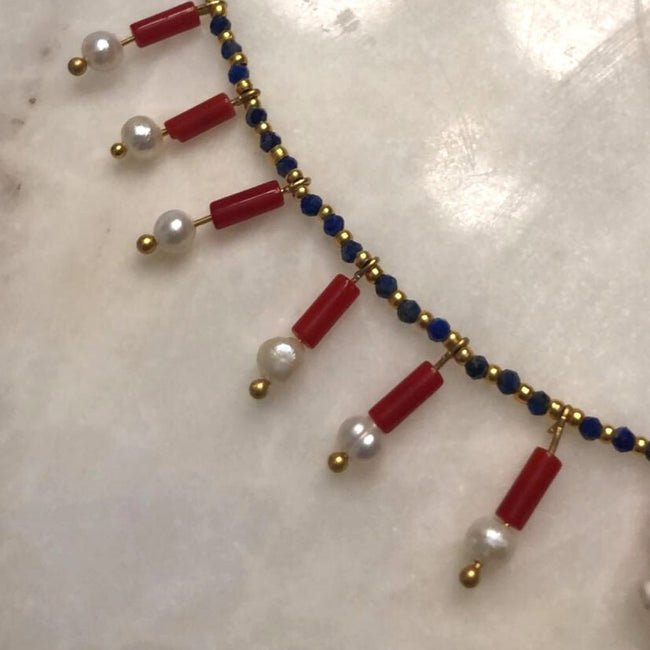 Cleopatra Natural Pearl, Lapis Lazuli, Coral Necklace