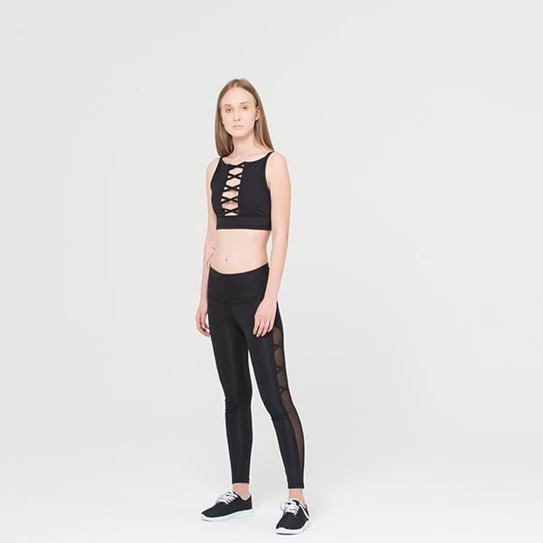 Ryder act branded crisscross crop top with cleavage at hippist