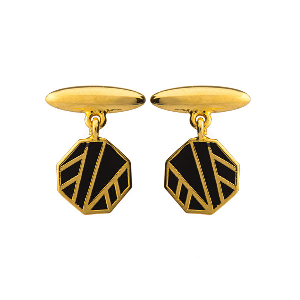 Gold plated bronze with black enamel details cufflink earrings