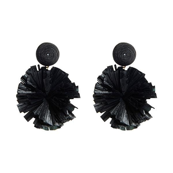 black colour silk thread and raffia pompoms detailed earrings
