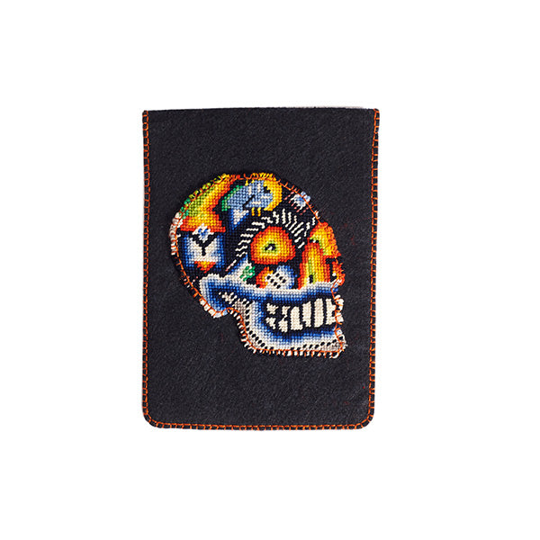 Felt dark navy tablet case with skull embroidery