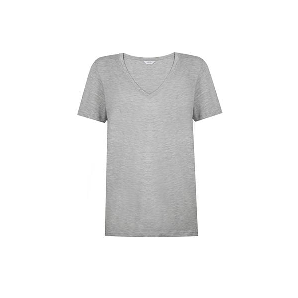 Silky touch V-neck grey basic t-shirt