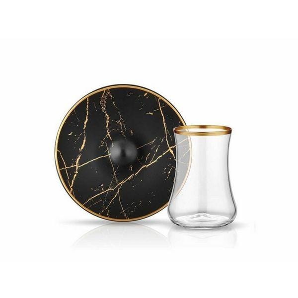 Dervish Marble Glass and Saucer | Black & Mat Gold | Set of 6