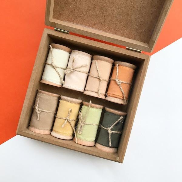 Hand Dyed Silk Ribbon Wooden Box | 8 Colours