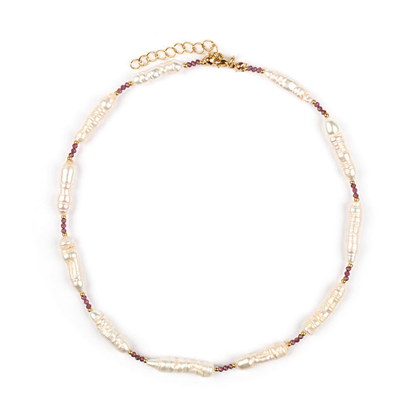 Electra Natural Pearl & Garnet Choker Necklace