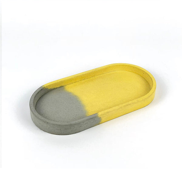 Ellipse Little Tray | Concrete | Grey & Yellow