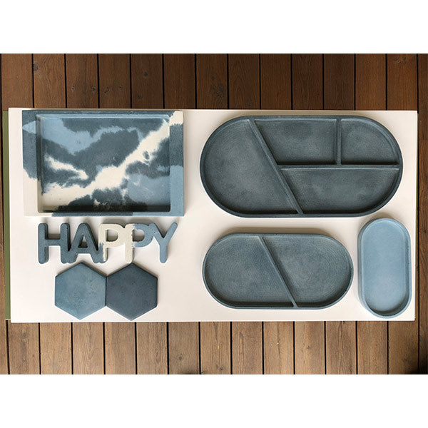 Ellipse Little Tray | Concrete | Grey & Pink