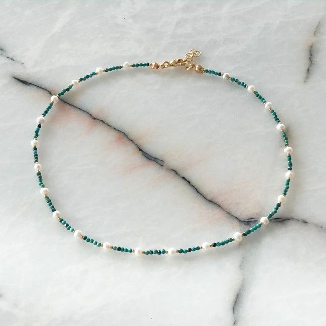 Green and White Natural Pearl & Turquoise Necklace