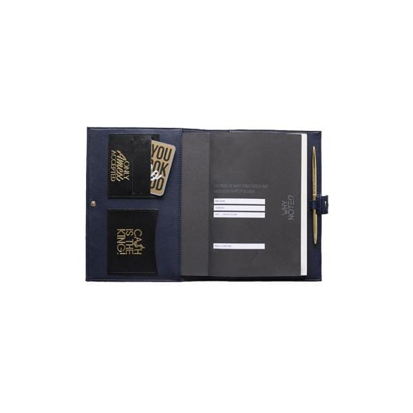 why note!? navy and black notebook bag