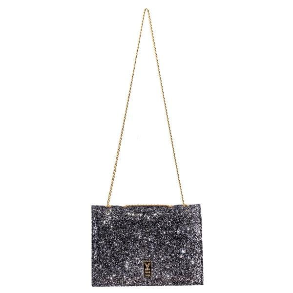 Why Note!? Silver glitter formal notebook bag