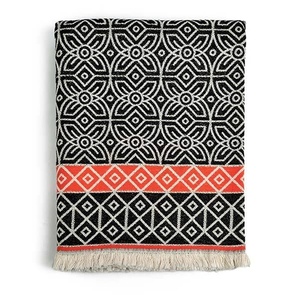 fowohodie patterned woven 3RD Culture black and orange throw