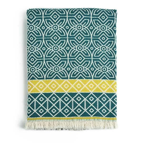 fowohodie patterned woven 3RD Culture green throw