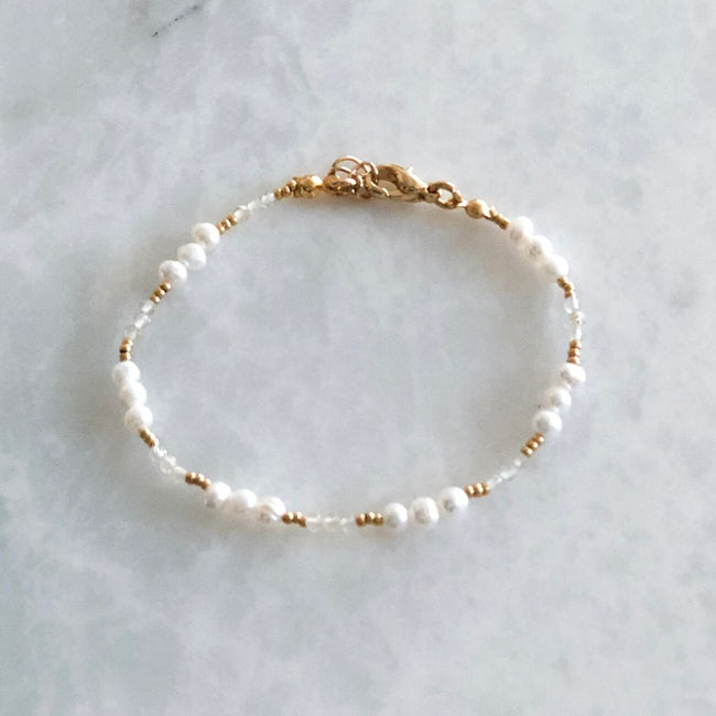 White Natural Pearl & Citrine Bracelet