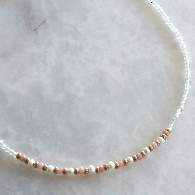 White Natural Pearl, Agate, Pink Opal Necklace
