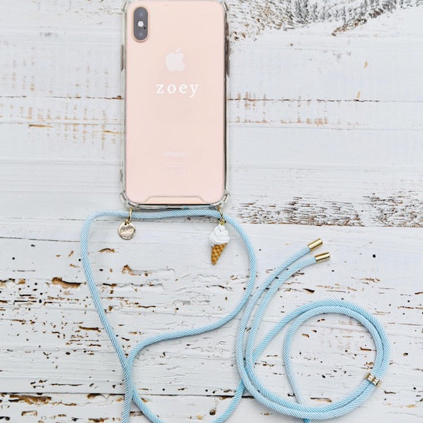 Zoey branded phone cover with blue fun phone strap and fun ice cream charm at hippist.co.uk