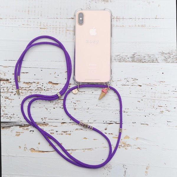 Zoey branded phone cover with purple fun phone strap and fun ice cream charm at hippist.co.uk