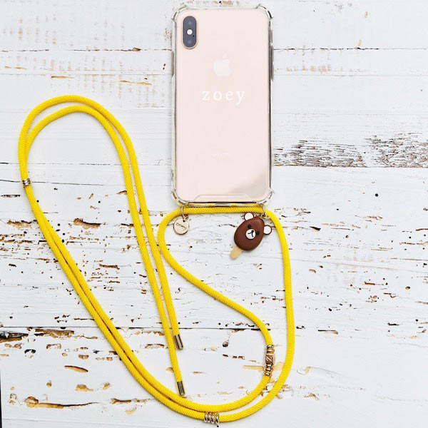 Zoey branded phone cover with yellow fun phone strap at hippist.co.uk