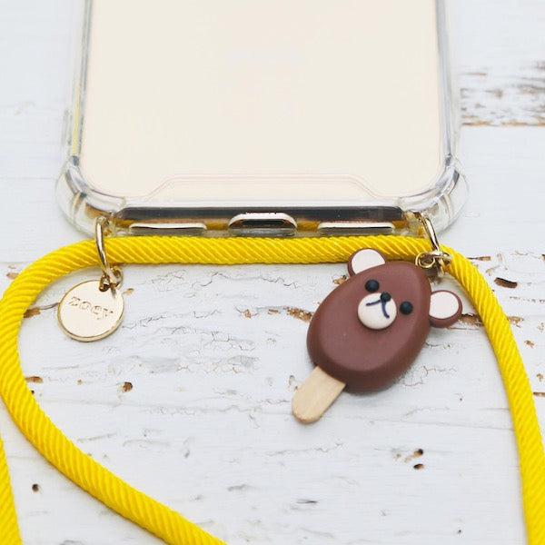 Zoey branded phone cover with yellow fun phone strap and fun bear charm at hippist.co.uk