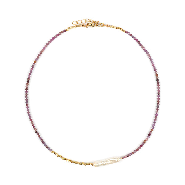 Gabrielle Natural Pearl & Ruby-Sapphire Necklace