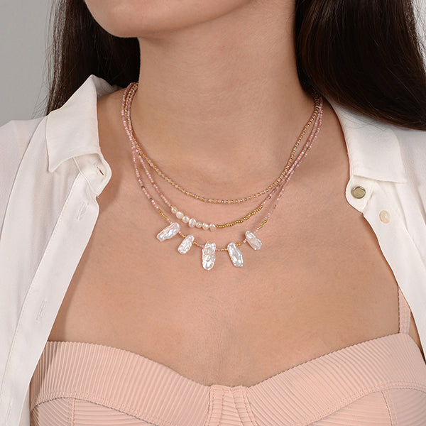 Chloe Natural Pearl Rhodochrosite Necklace