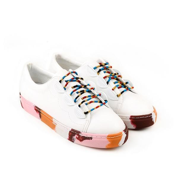white shoes with colourful shoe laces