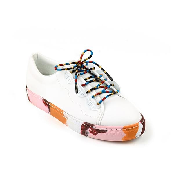 a white shoe with colourful handmade shoe laces