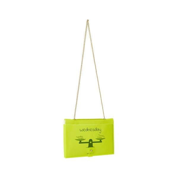 why note!? branded fun note bag series neon green notebook bag with days cards